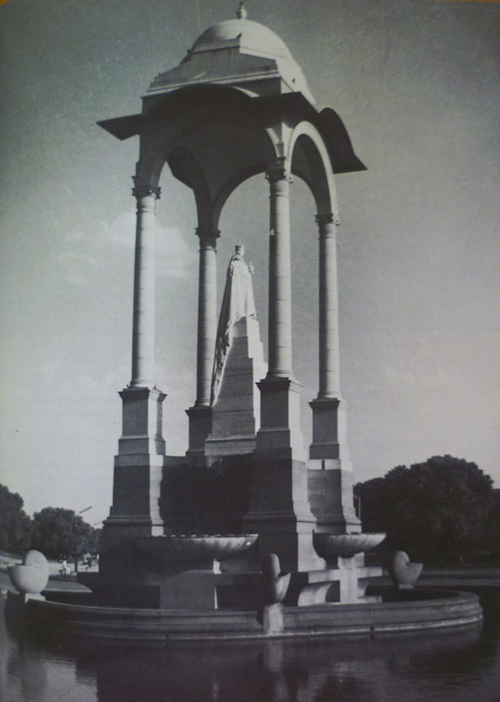 The memorial to George V, complete with statue,; photograph from Irving's Indian Summer.